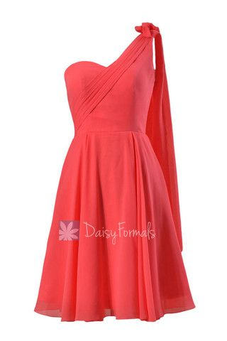 Asymmetrical One Shoulder Chiffon Bridesmaid Dress Short Coral Red Dre – DaisyFormals-Bridesmaid and Formal Dresses in 59+ Colors