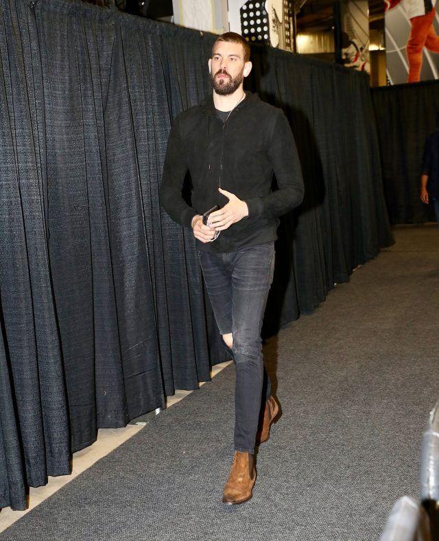 Marc Gasol Wears Jonathan Logan Jacket, Saint Laurent Jeans and Mezlan Boots for Grizzlies vs Spurs Game   UpscaleHype