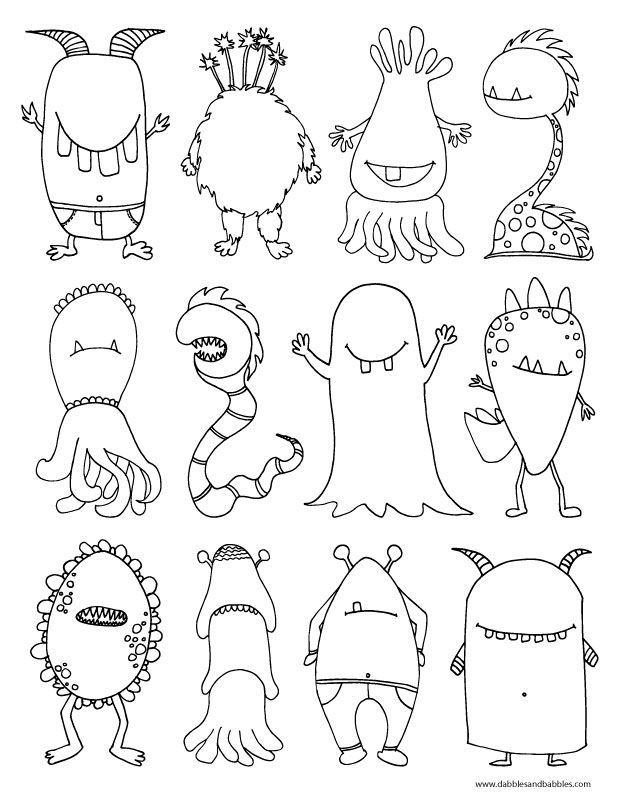 """A monster coloring page! Perfect to talk about the Halloween season and the """"monsters"""" your child may encounter. Monsters are make-believe, of course!"""