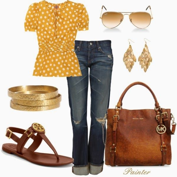 Spring OutfitFashion, Casual Outfit, Casual Friday, Polka Dots, Style, Michael Kors, Tory Burch, Spring Outfit, Bags