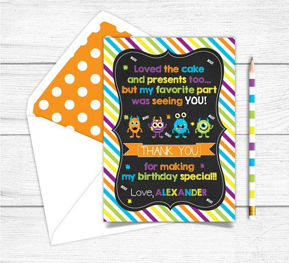 Printable Chalkboard Monsters Birthday Thank you CardBirthday