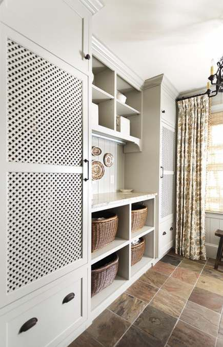 laundry - hide water heater behind perforated cabinet doors
