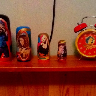 Wonder Woman and Madonna Russian Dolls hearth keeping me inspired