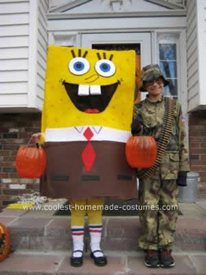 Homemade Spongebob DIY Halloween Costume: This Spongebob DIY Halloween Costume is my own take on the ones I've seen here. Used a full-sized foam mattress pad, flipped over to the flat side. Spray