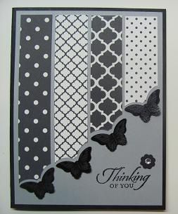 handmade greeting card ... shades of gray ... columns of patterned papers end at an angle to create a diagonal line across the card ... butterfly top punched at the ends with complete embossed butterfly adhered slightly offset .. great card!! Stampin' Up!
