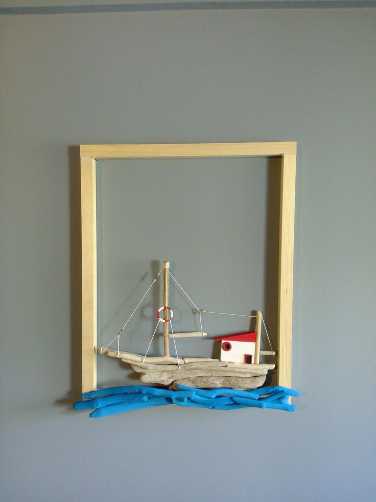 driftwood art...and more: Wooden handmade sailboat on frame