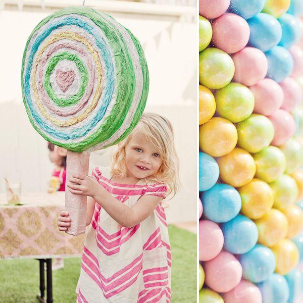 chevron pastel sweet shoppe party: lollipop pinata  {Paiges of Style}