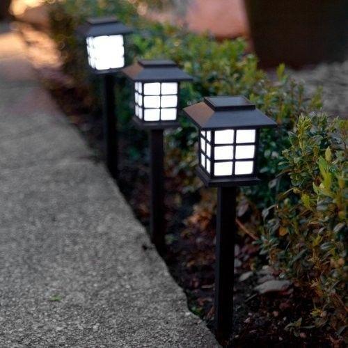 Set of 6 White LED Solar Lantern Garden Stake Lights Decor Night Outdoor Powered
