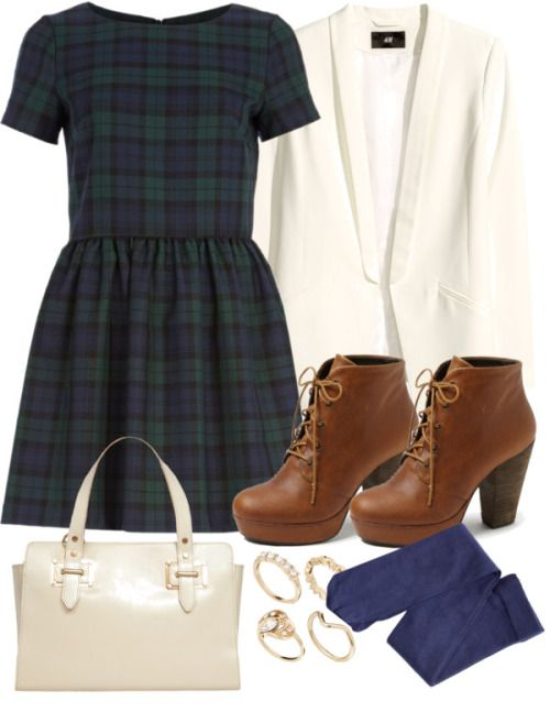 teenwolfmtvstyle:  Lydia Inspired Outfit by veterization featuring diamante rings  River Island plaid dress, $41 / H M jacket, $41 / H m tight / Steve Madden platform booties / Dorothy Perkins leather doctor bag / ASOS diamante ring