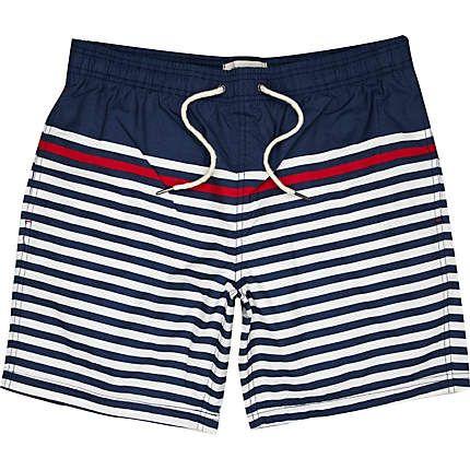 Navy contrast stripe swim trunks - swim trunks - shorts - men
