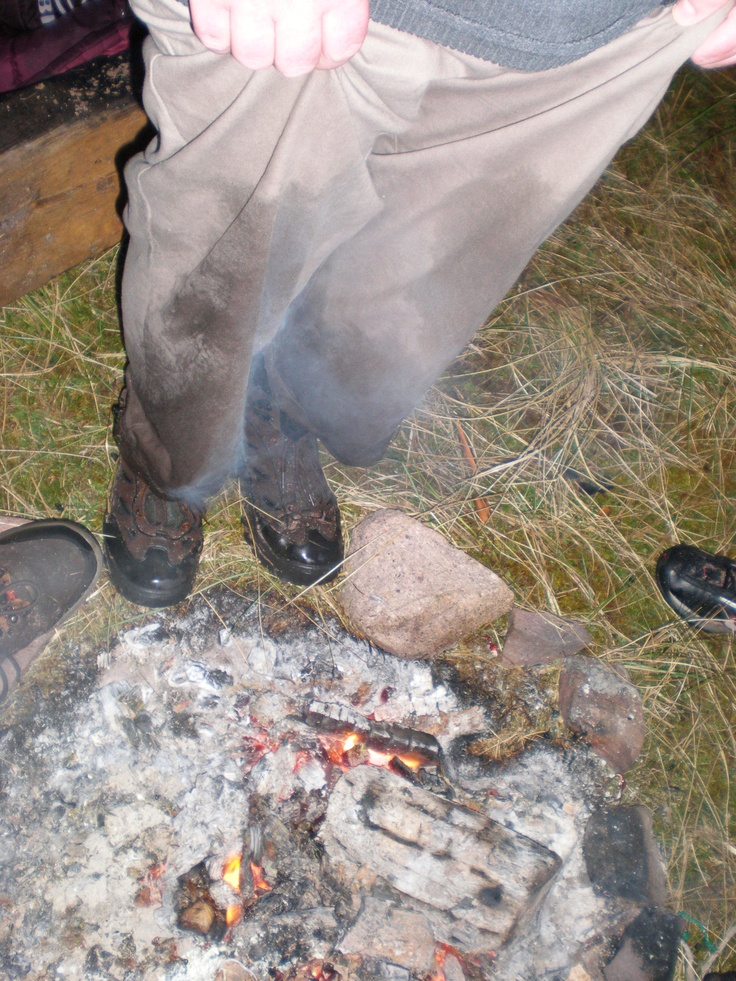How to:- Dry wet trousers using only a camp fire!