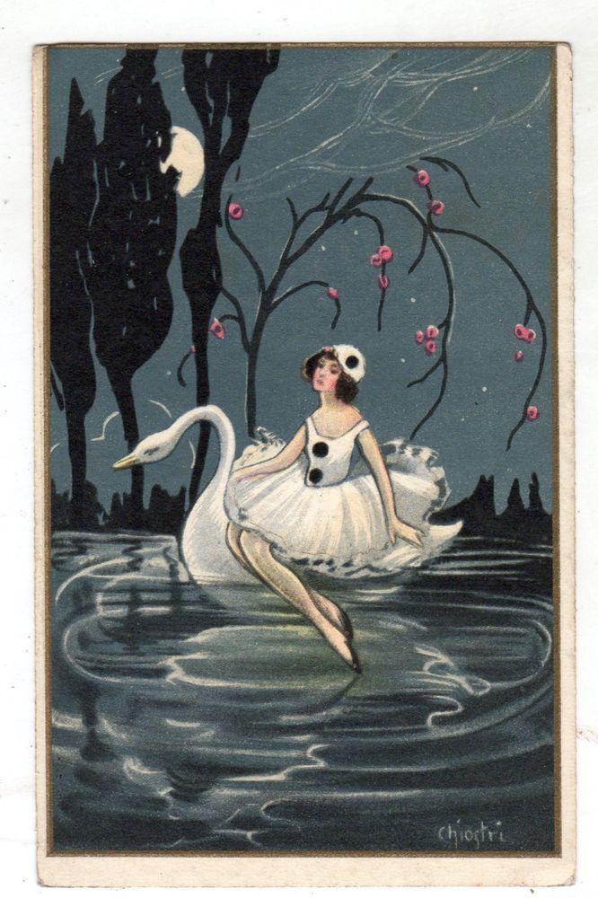 CI00178 ARTIST SIGNED ILLUSTRATORE CHIOSTRI PIERROT E CIGNO VG 1928    Illustrazioni, Artisti, Cigno