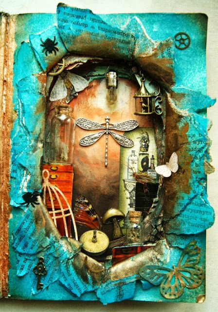 neat idea for an altered book page... love the torn opening