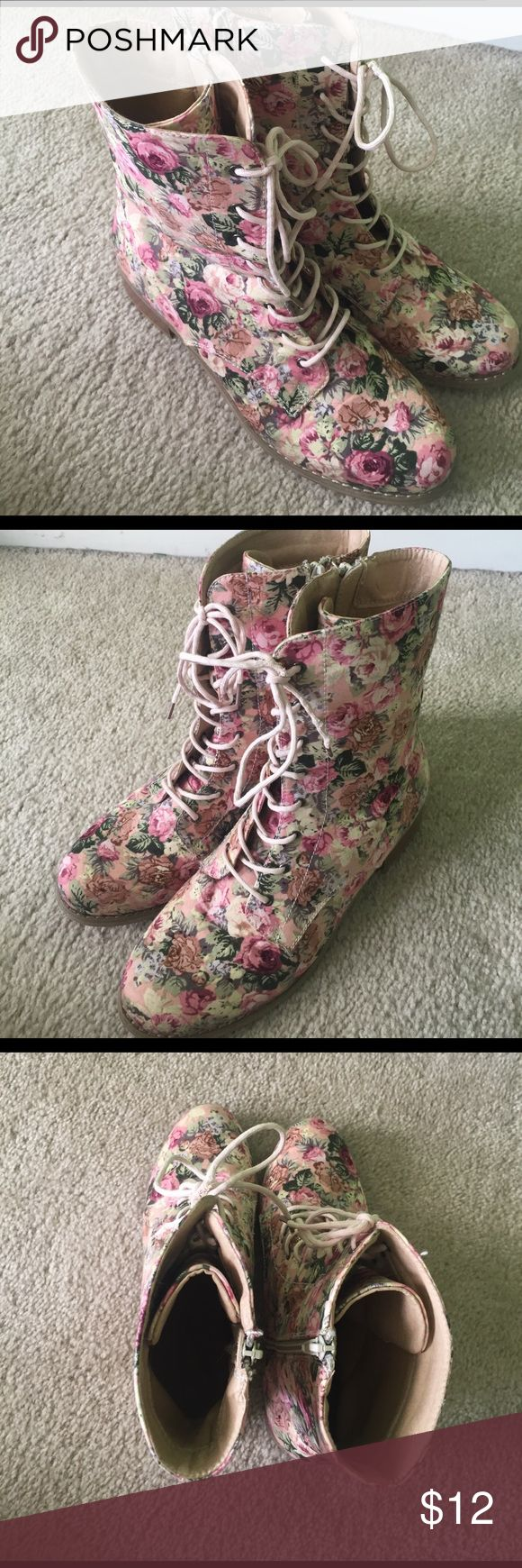 Floral combat boots Combat boots from charlotte russe. Good condition. (Shoe lace on left boot is worn at top and may need replaced). Charlotte Russe Shoes Combat & Moto Boots