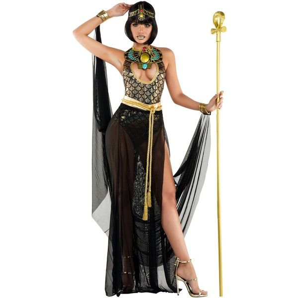 Women's Sexy Cleo Costume ($20) ❤ liked on Polyvore featuring costumes, cleopatra halloween costume, sexy cleopatra halloween costume, womens costumes, lady costumes and lady halloween costumes
