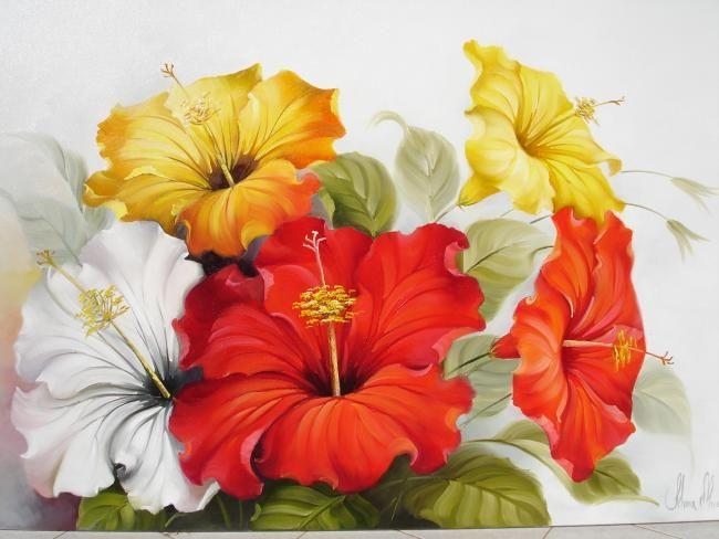 1016 - Hibiscos - Painting,  60x120 cm ©2009 por Silvana Oliveira -  Pintura