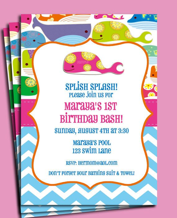 whale invitation printable girls whale by thatpartychick on etsy 1500