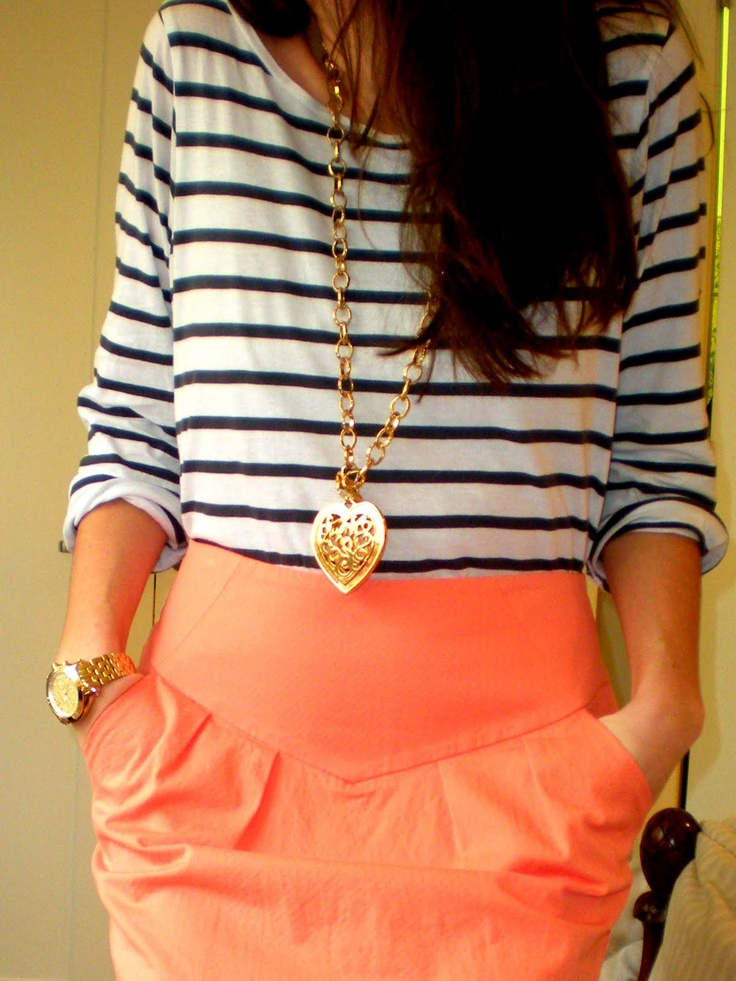 Stripes, coral & gold: Colors Combos, Dreams Closet, Cute Outfits, Pencil Skirts, Stripes, Gold Jewelry, Coral Skirts, Necklace, Bright Colors