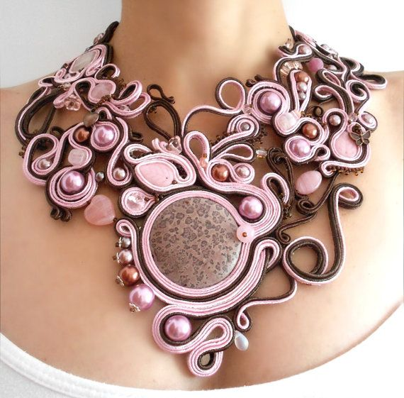 Art nouveau statement necklace OOAK soutache by MagdoTouch on Etsy