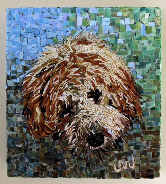 Stained Glass Mosaic Goldendoodle Golden Doodle by Jackiesglass, $2550.00