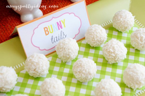 Bunny Tails ~ Easter or Bunny Birthday Party Dessert Table Ideas from AmysPartyIdeas.com