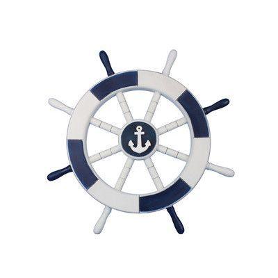 "Handcrafted Nautical Decor Ship 18"" White Decorative Ship Wheel with Anchor Wall Décor & Reviews | Wayfair"