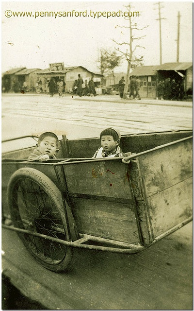 Cart with Children, Occupied Japan 1945-46