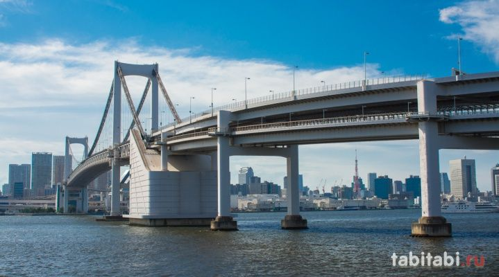 Радужный мост - один из самых известных в Японии. Соединяет остров Одайба и Токио. http://tabitabi.ru/place/Rainbow_Bridge.html