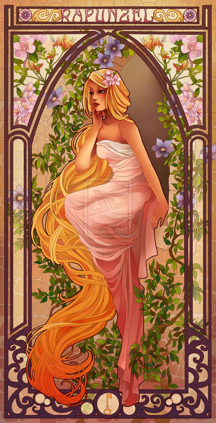 Rapunzel by Hannah-Alexander.deviantart.com  peach blossom (means I am your Captive) and corchorus (means Impatience of Happiness)
