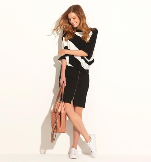 Jupe crayon zippée Femme noir - Promod