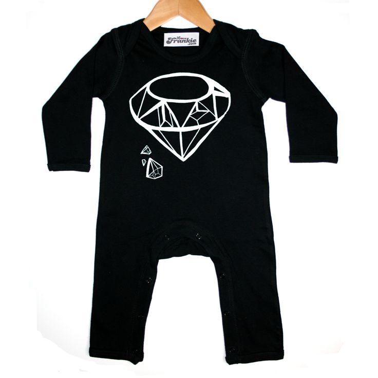 Sparkle chops diamond baby romper in black monochrome by love frankie