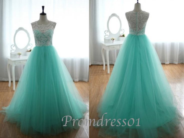 Elegant vintage white lace green tulle round neck short sleeve long prom dress for teens, ball gown, wedding dress, evening dress #promdress #coniefox #2016prom