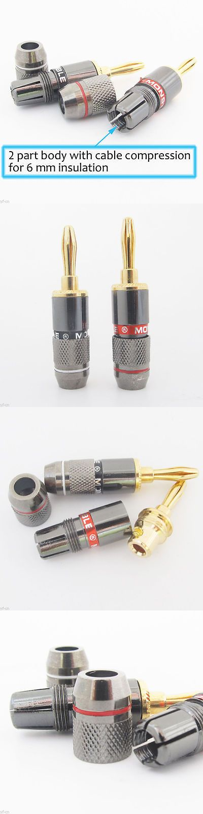 Audio Cable Plugs and Jacks: 10Pairs Monster Gold Plated Speaker Cable Wire 4Mm Banana Plug Audio Connector -> BUY IT NOW ONLY: $34.09 on eBay!