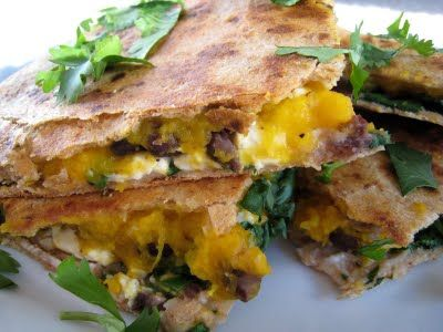 Butternut Squash, Black Bean, and Feta Quesadillas: recipe
