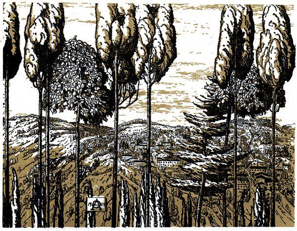 """А.П. Остроумова-Лебедева """"Фиезоле"""" (грав. на дер.,1904)"""