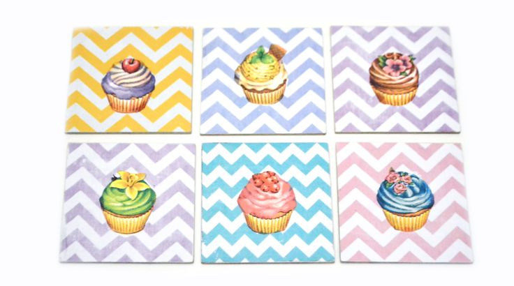 chevron cupcake coasters by Lne