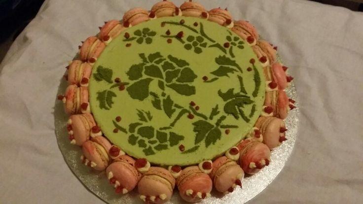 Greentea cheesecake with raspberry cheesecake macaroons.