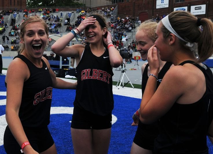 Gilber's Carly Rahn, Maggie Pollard, Cara Heuer and Emily Branson celebrate after winning the Class 3A 4x800-meter relay on Thursday at the state track and field meet at Drake Stadium in Des Moines. Photo by NIrmalendu Majumdar/Ames Tribune http://www.amestrib.com/sports/20170518/prep-track-and-field-gilbert-girls-win-4x800