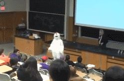 Angry Professor Chases Student In Chicken Suit