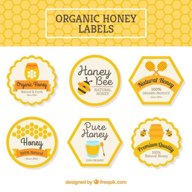 Pacote de rótulos de mel orgânico Vetor grátis