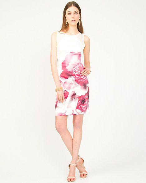 Satin Flower Print Dress