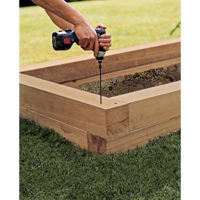 Excellent step by step DIY for how to build raised planter boxes from This Old House - stagger corners to increase stability, especially if putting a seat on top. More