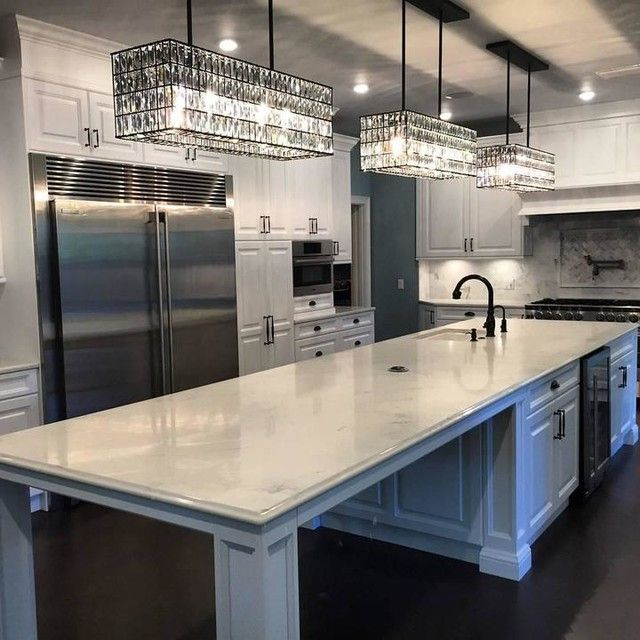 Best Luxurious Lighting Images On Pinterest Kitchen Islands - Crystal chandelier in kitchen