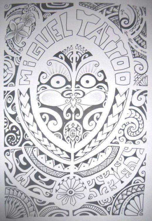 Dessin de Tatouage Maori Marquisienne dont élément principal au centre est un symbole de tiki au double visage