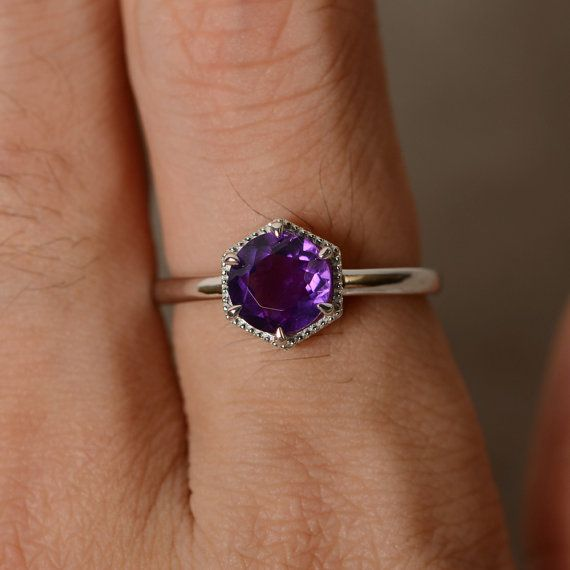 Natural Amethyst Ring Sterling Silver Purple by KnightJewelry