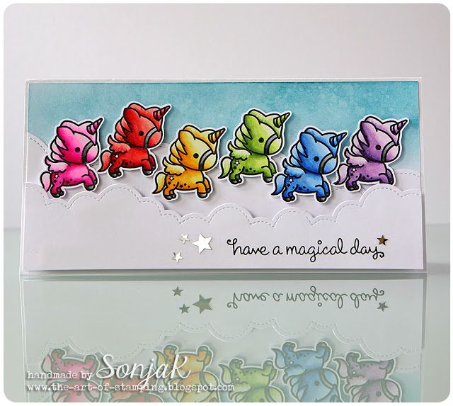 "Geburtstagskarte   birthday card - Sweet Stamp Shop ""Unicorn"", Lawn Fawn ""Fairy Friends"", ""Puffy Cloud Borders"", Copic, Distress Ink"