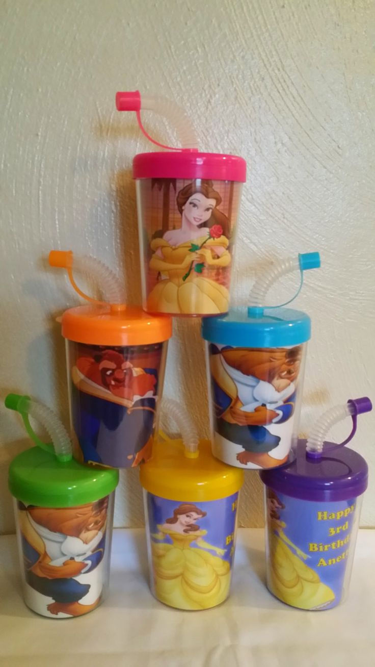 Beauty and the Beast Personalized Do It Yourself Party Favor Cups, DIY Belle Birthday Treat Cups Set of 6, BPA Free