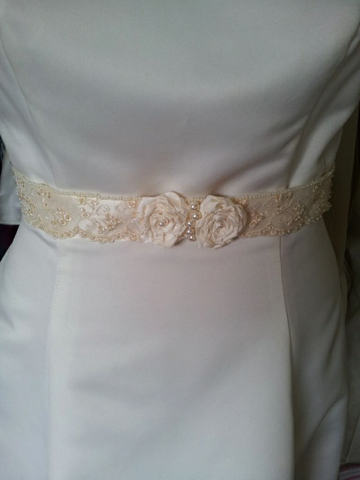 Handmade Ivory Rose bridal belt with lace overlay from Beautiful Unique