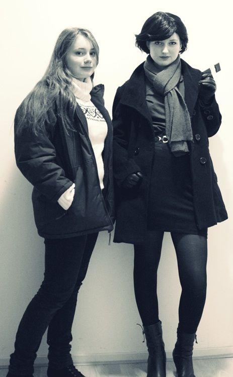 Female Sherlock and John cosplay