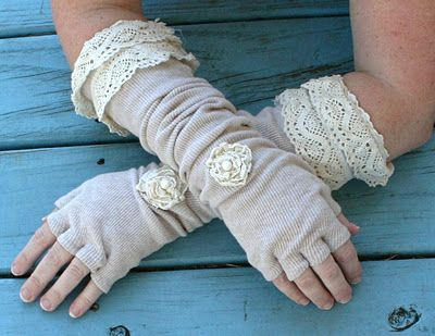 Tutorial on how to make lace fingerless gloves from an old t-shirt.